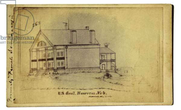 American Civil War, CDV of Drawing of Union hospital at Paducah, KY 1864