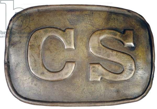 American Civil War, Confederate soldier's brass belt plate