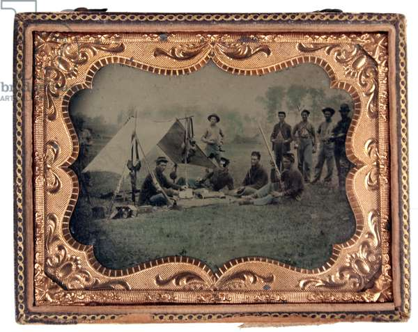 Union soldiers resting in camp