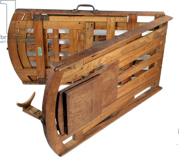 Embalmer's folding table for cooling bodies, dated 1861