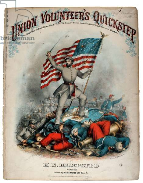 American Civil War Patriotic Song Sheet ,Union Volunteers Quickstep