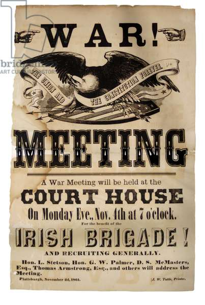 War Meeting Poster for benefit of the Irish Brigade