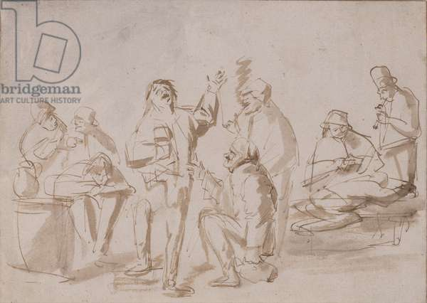 Peasants in a Tavern, c.1662 (pen & ink with wash on paper)