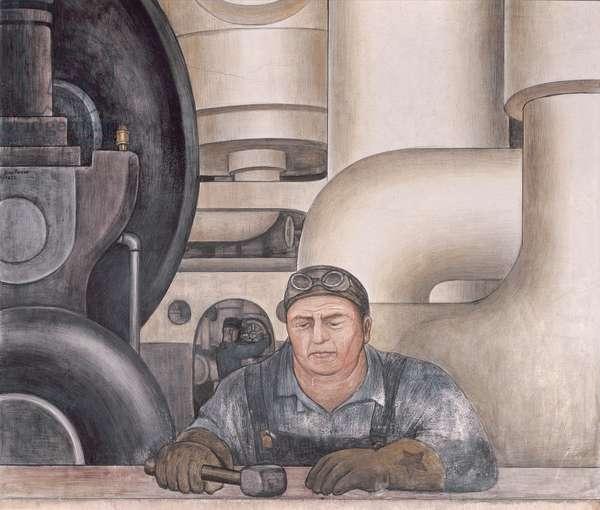 Detroit Industry, west wall, 1932-33 (fresco) (detail)