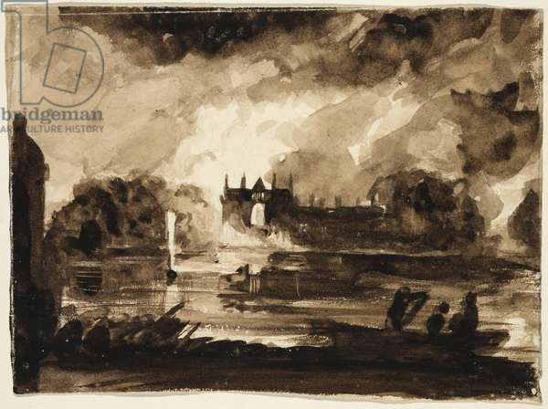 Effect for Newstead Abbey, Nottinghamshire, England, 1830 (brown wash over pencil on paper)