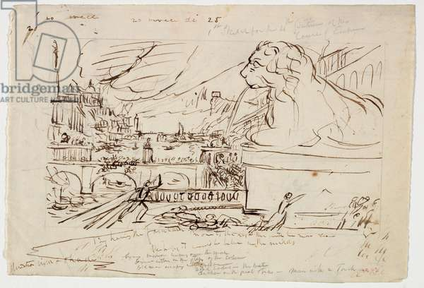 Sketch for 'Destruction', from the 'Course of Empire' series, c.1836 (pen & ink on paper)