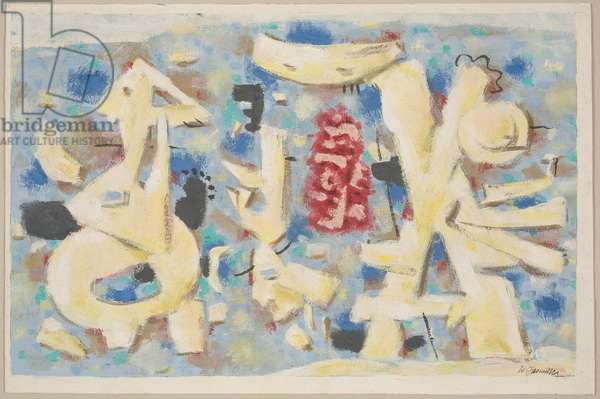 Cheerful Movement on Pink IV, 1947 (gouache on paper)