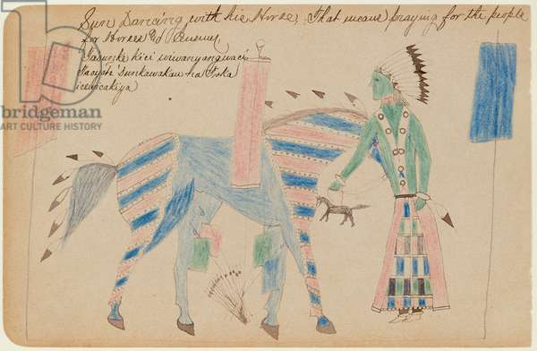 Sun Dancing with His Horse, c.1890 (coloured pencils on paper)