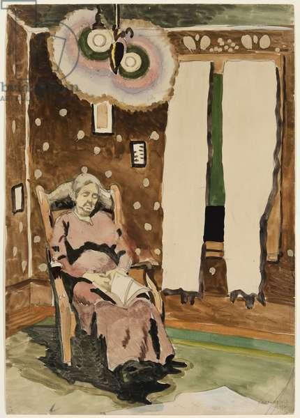In the Parlor, 1916 (w/c & graphite pencil on cream wove paper)