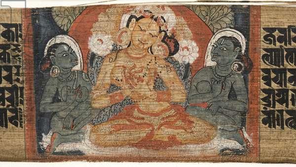 Folio 2r Goddess Prajnaparamita, from the 'Astasahasrika Prajnaparamita' (ink & colours on palm leaves and wood) (detail of 430760)