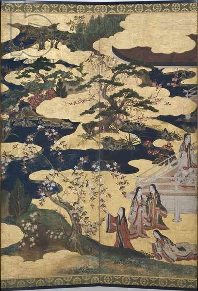 Detail of Spring in the Palace, six-fold screen from 'The Tale of Genji', c.1650 (ink, colours & gold on paper)