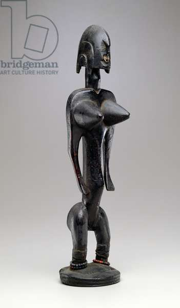 Standing Female Figure, Bamana, Mali, 19th-20th century (wood, copper, beads and metal)