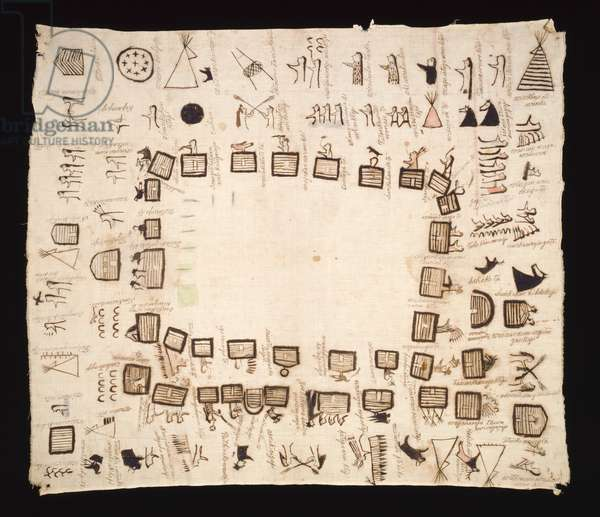 Winter Count, 1911 (cotton cloth, ink and pigment)