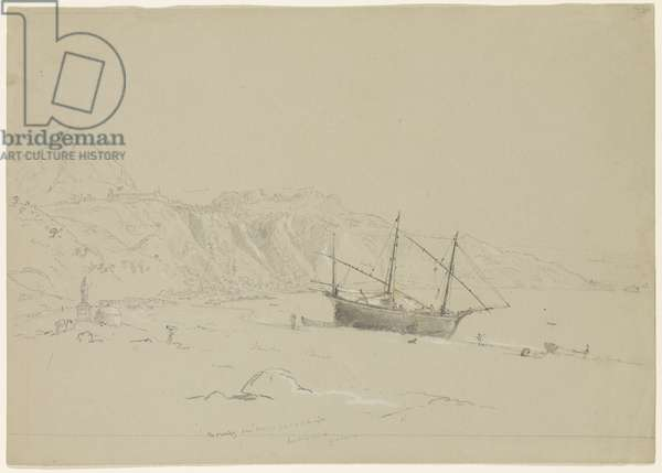 Boat on a Beach near Taormina, Sicily, 1842 (pencil heightened with white chalk on paper)