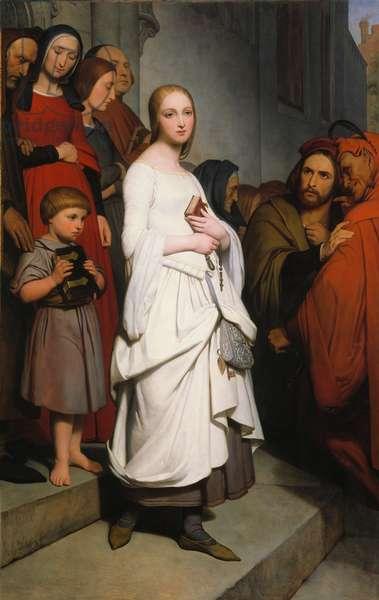 Marguerite Leaving Church, 1838 (oil on canvas)