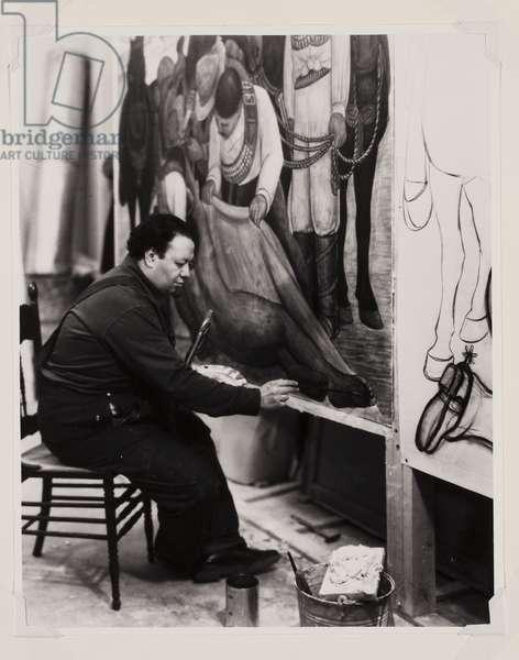 "Diego Rivera Working on the Portable Fresco ""The Liberation of the Peon"", 1931 (gelatin silver print)"