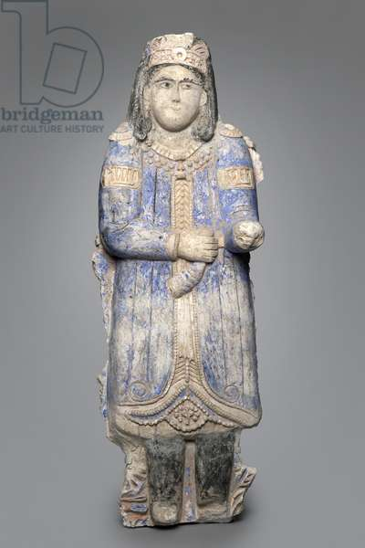 Figure of a courtier from a palace frieze, Seljuk Dynasty, 1150/1250 (painted stucco)