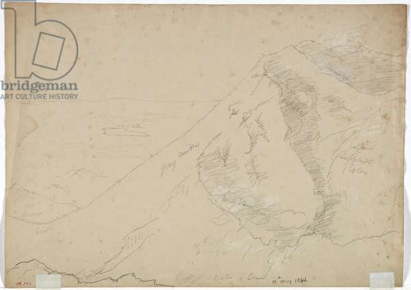 Crater of Mount Aetna, 1842 (pencil with white chalk on paper)