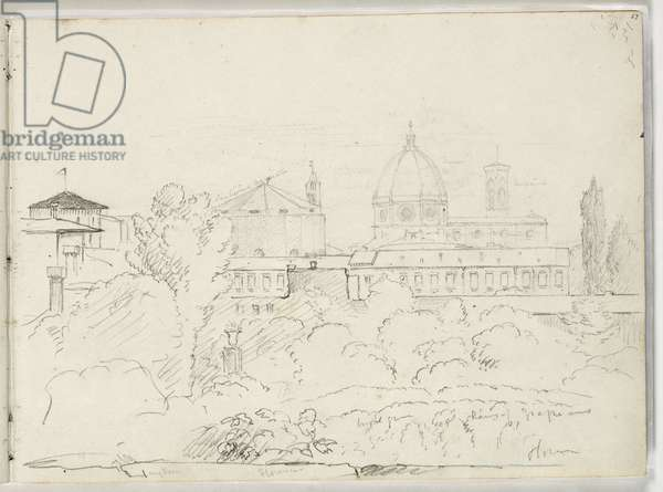 Florence with Views of the Duomo and Campagnale, 1831 (pencil on paper)