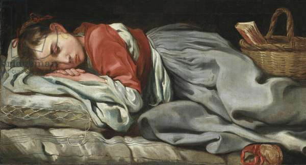 Young Girl Sleeping (oil on canvas)