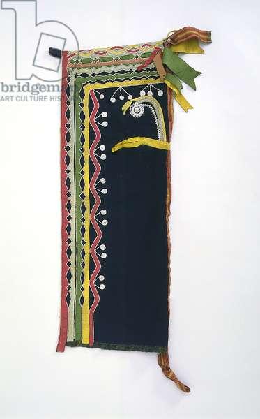 Hood, Chippewa, c.1840 (wool, glass beads & silk ribbon)