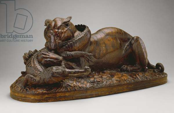 Tiger devouring a Gavial, 1831 (plaster with polychrome & patinated decoration)