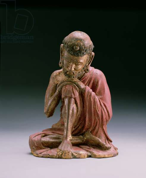 Red lacquer figure of Sakyamuni, the founder of the Buddhist faith, emerging from the mountains, Yan Dynasty, 1280-1368 (wood & gilt)