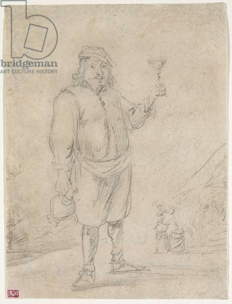 Peasant Raising a Glass of Wine, c.1644 (pencil on paper)
