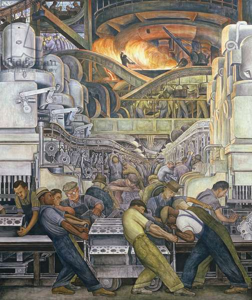 Detroit Industry, North Wall, 1932-33 (fresco) (detail of 269074)