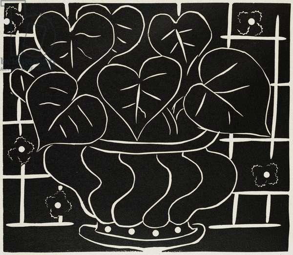 Corbeille de begonias I, 1938 (linoleum cut printed in black ink on wove paper)