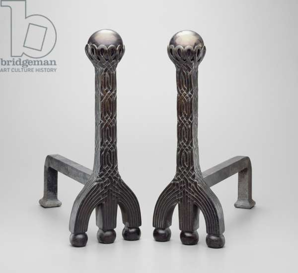 Pair of andirons, c.1892/1902 (bronze with favrile glass)