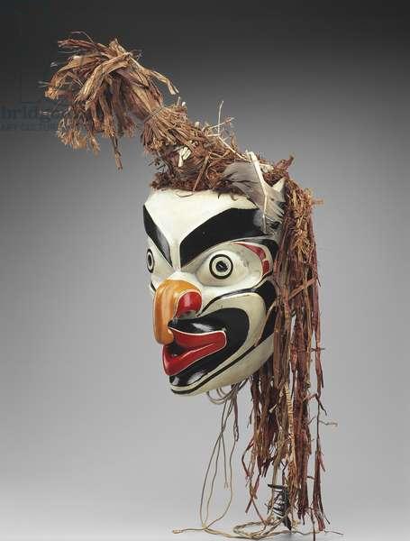 Grouse mask (painted wood & cedar bark)
