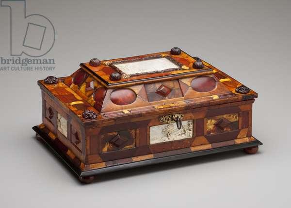 Courtly amber casket, c.1695 (amber, ivory, wood, glass, brass & velvet)