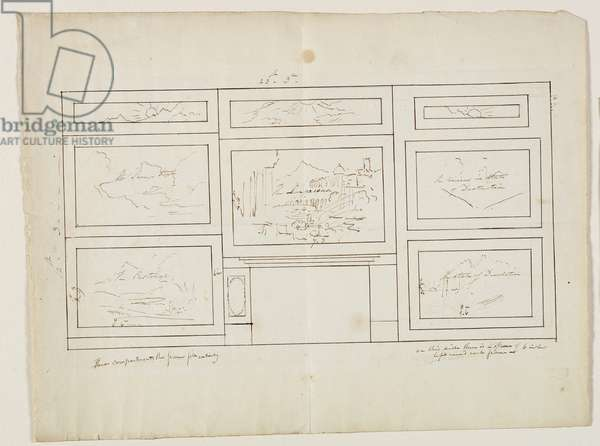 Layout for 'The Course of Empire', 1833 (pen & ink over pencil on paper)