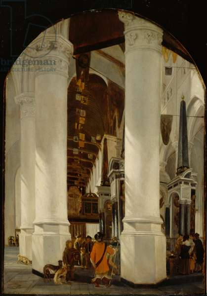 The Nieuwe Kerk at Delft with the Tomb of Willem the Silent, c.1650/51 (oil on oak panel)