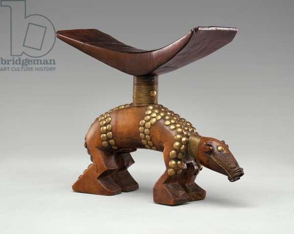 Headrest (wood, brass studs, copper and brass wire)