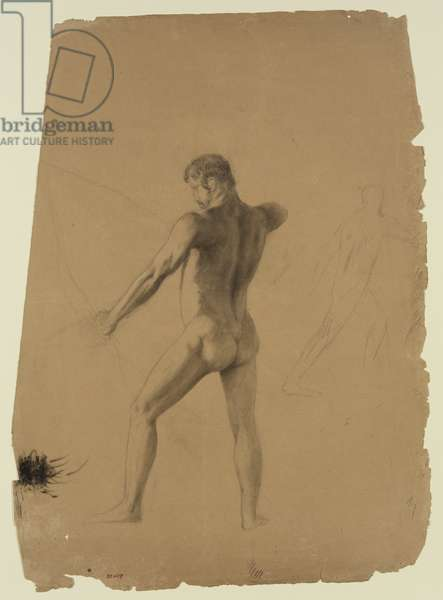 Nude Male with Bow and Arrow (chalks on paper)