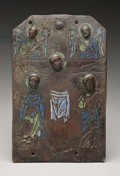 Fragment of a plaque from a reliquary chasse depicting the crucifixion, 1175/1200 (champleve enamel on copper with traces of gilt)