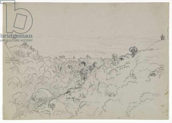 View near Lentini, Sicily, 1842 (pencil on paper)