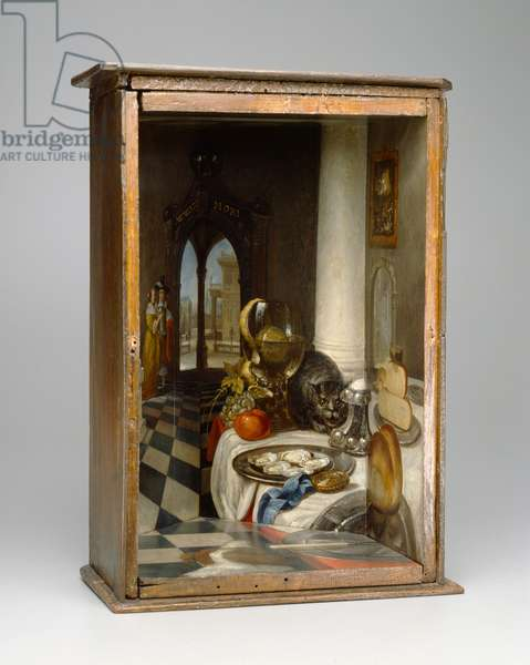 Perspective Box of a Dutch Interior, 1663 (oil paint, glass mirror & walnut)
