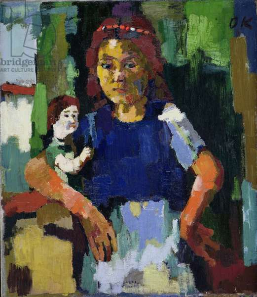 Girl with Doll, c.1921 (oil on canvas)