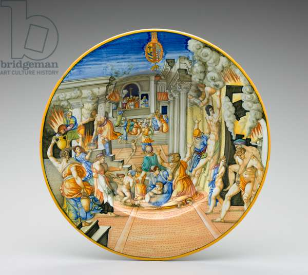 The Burning of Troy, between 1570 and 1574 (tin-glazed earthenware with polychrome decoration)