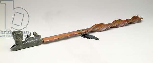 Pipe stem, Chippewa, c.1850 (wood & metal)