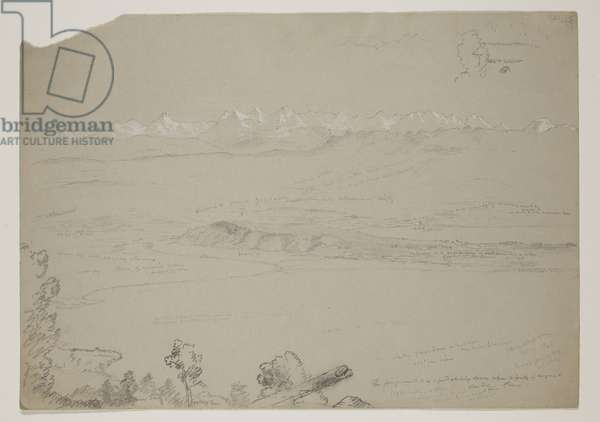 Lake Yverdon or Neuchatel from the Hill Chaumont, Switzerland, 1841 (pencil heightened with gouache on paper)