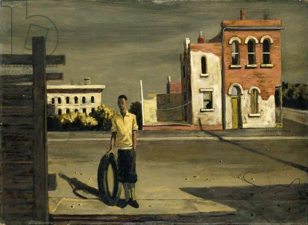Boy with Tire, 1952 (oil on panel)