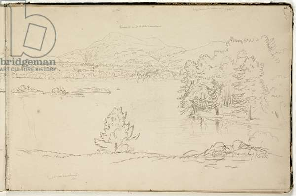 Hoosick or Saddle Mountain and Lake near Pittsfield, c.1832 (graphite pencil on off-white wove paper) (see also 3525969)