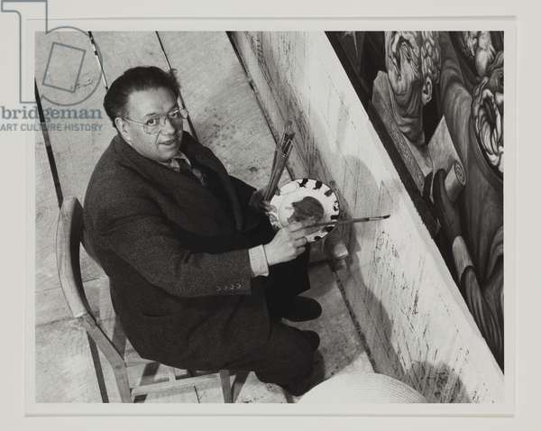Diego Rivera Finishing One of His Murals in Lobby of Cardiac Institute, Mexico, c.1940 (gelatin silver print)