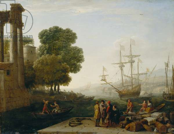 A Seaport at Sunset, 1643 (oil on copper panel)