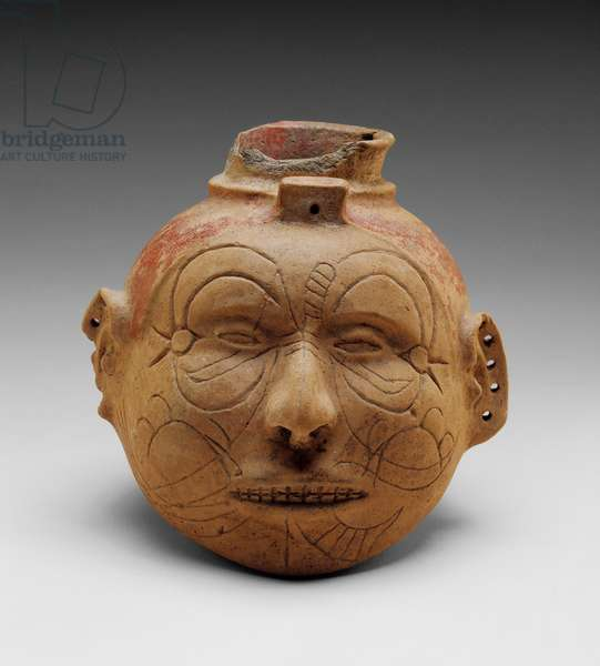 Head Effigy Vessel (buffware with red slip pigment)