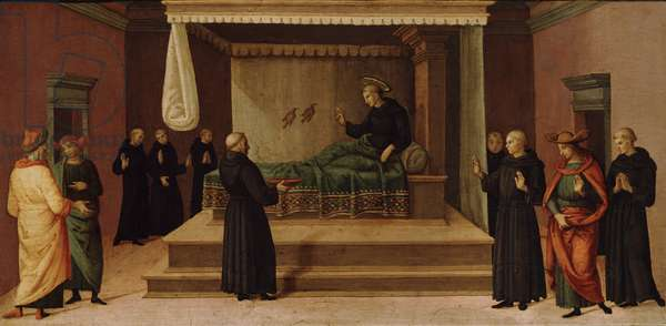 St. Nicholas of Tolentino restoring two partridges to life, c.1500-30 (tempera on wood panel)